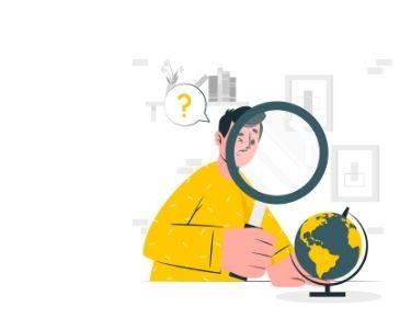 Ilustración de una persona con una lupa sobre un globo terraquedo. En alusión a la indagación a la que invita el proyecto Go Jump