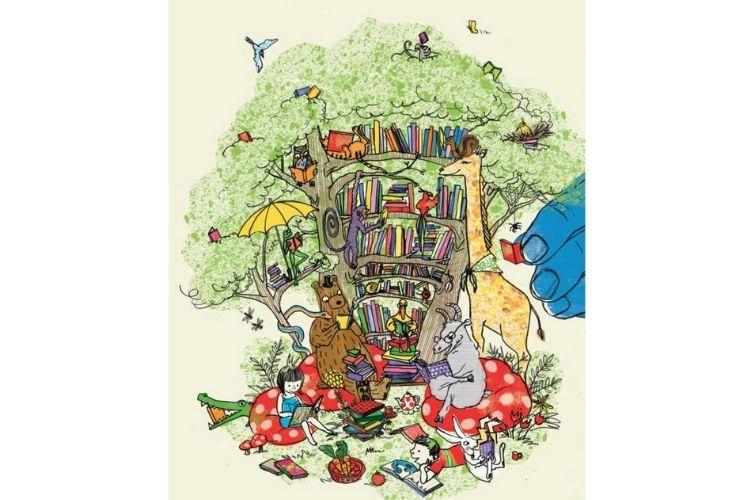 Ilustración de animales leyendo