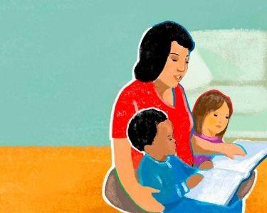 Ilustración de docente leyendo con niños