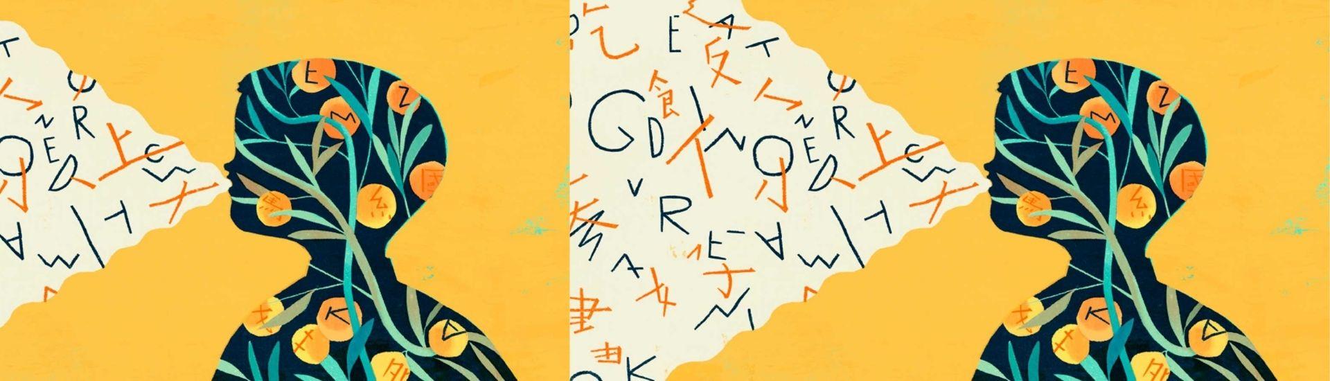 Ilustración de estudiante en el proceso de habla