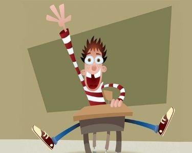 Ilustración de estudiante levantando la mano