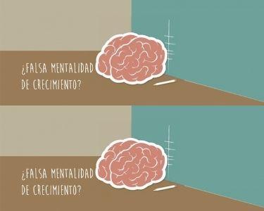 Ilustración de la falsa mentalidad de crecimiento con un cerebro