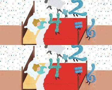 Ilustración de niño contando ovejas