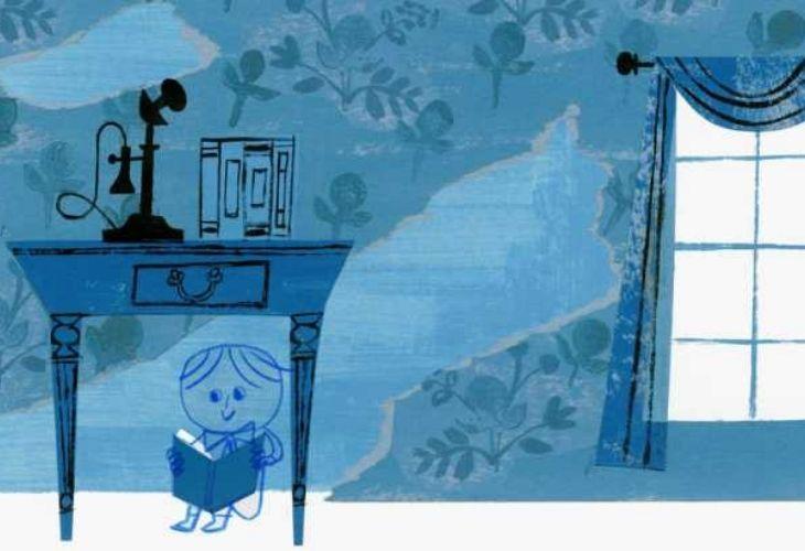 Ilustración de niño leyendo un cuento debajo de una mesa