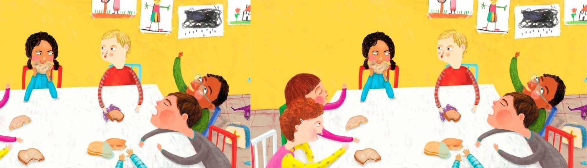 Ilustración de niños y niñas compartiendo