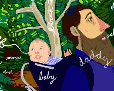 Ilustración de padre e hijo conversando de la naturaleza