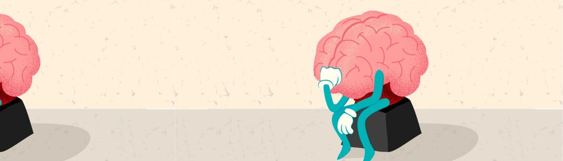 Ilustración de un cerebro pensando