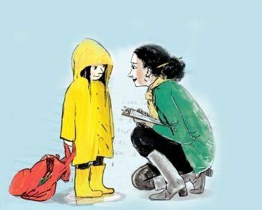 Ilustración docente y estudiante conversando