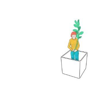 Ilustración de una mujer dentro de una maceta, mientras mantiene una planta en sus manos. Imagen para el artículo de microaprendzajes. Crédito: Pixabay