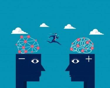 Ilustración de una persona saltando de una mente negativa a una positiva