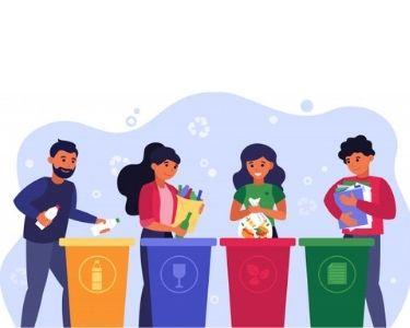 En la imagen se ven cuatro personas reciclando y aprendiendo a separar residuos