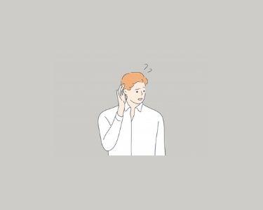Ilustración de un hombre con una mano en su oreja izquierda, con signos de interrogación. Imagen en representación de las preguntas de bienestar socioemocional. Crédito: Freepik.