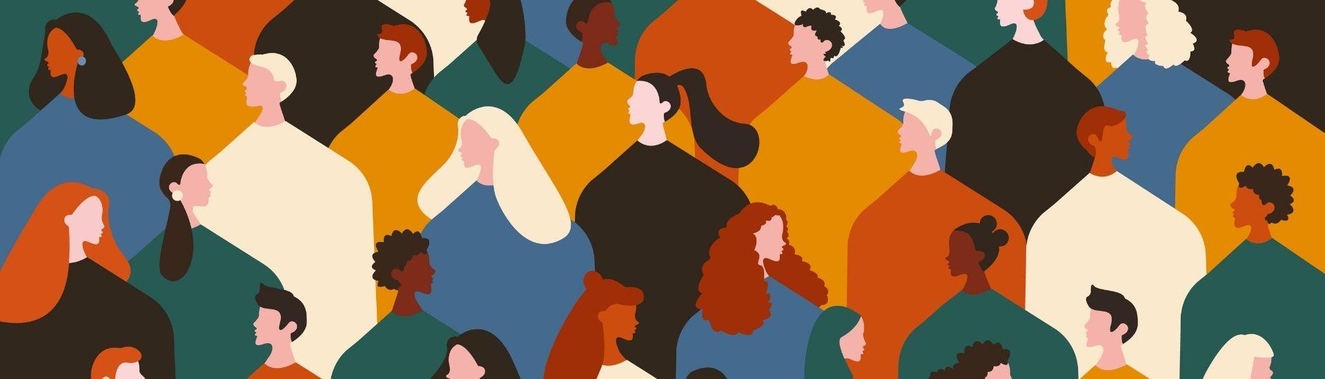 Ilustración de personas de distintas nacionalidades, parte de lo que conforma la ciudadanía. Son rostros con poleras de distintos colores y mirando a distintas direcciones. Crédito: Adobe