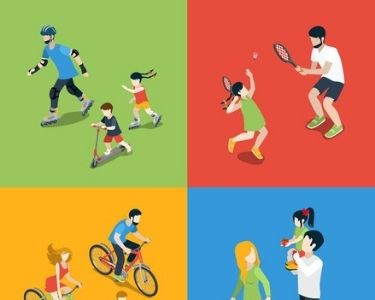 Cuatro imágenes de familias haciendo deportes juntos, ganándole al sedentarismo. Crédito: Freepik.