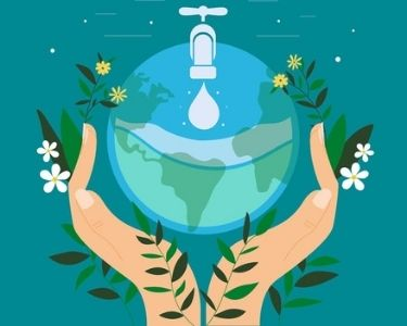 Imagen que sostiene un planeta de agua simulando que es una llave sostenido por dos manos