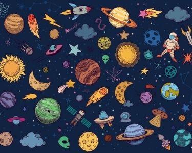 Fondo azul con varios planetas y cuerpos celestes del Universo