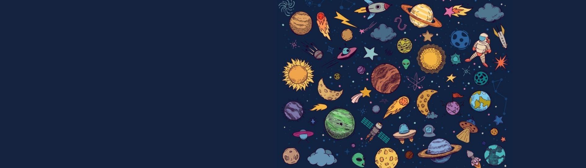 Fondo azul con varios planetas y cuerpos celestes