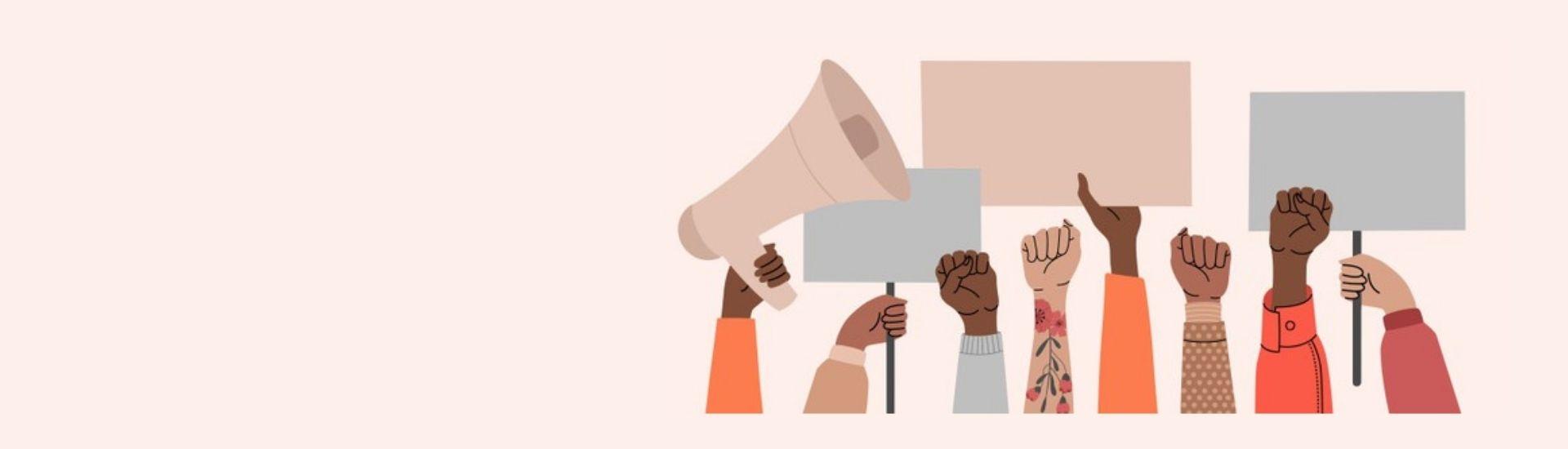 Ilustración de varias manos en alusión a las protestas feministas, mientras sostienen pancartas y pañuelos