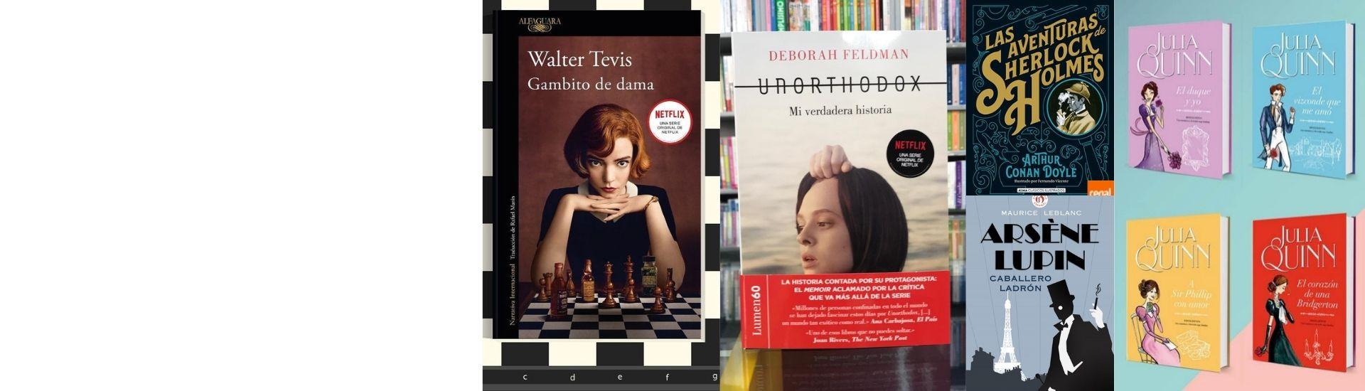 En la imagen se ve la portada de cinco libros adaptados a series