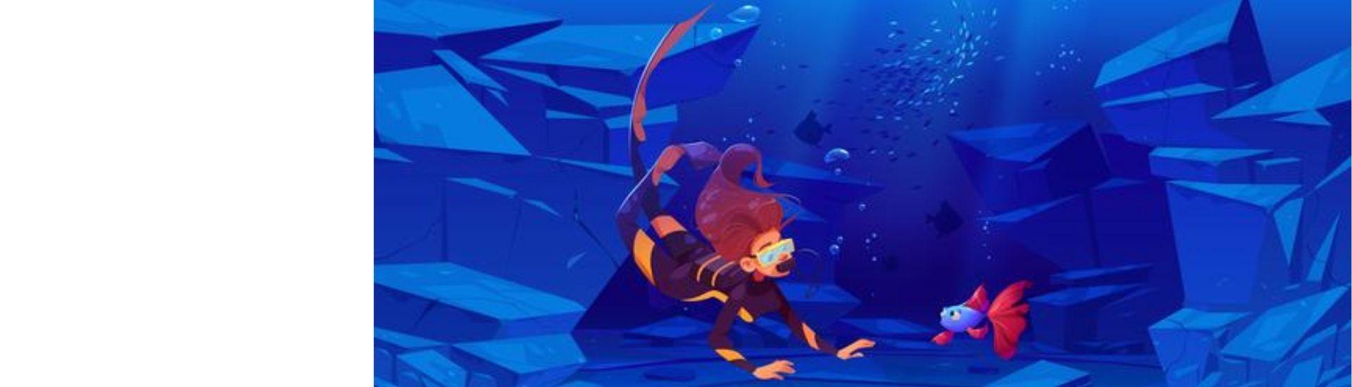 Imagen de una investigadora buceando y descubriendo especies en el océano