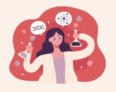 En la imagen se ve una científica educando a través de sus aportes