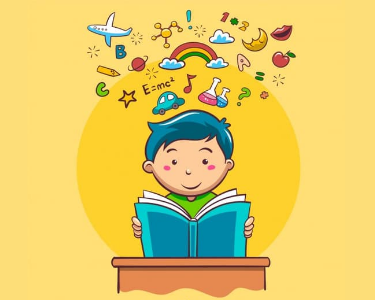 Foto de un estudiante leyendo un libro y aprendiendo diferentes materias