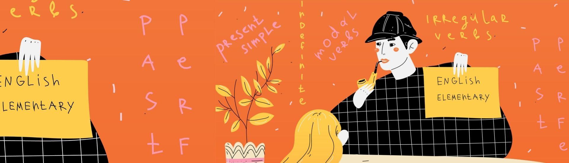 Ilustración de un profesor con varias láminas con palabras en inglés. De frente, una alumna mirándolo fijamente y aprendiendo (repitiendo) lo que dicen las láminas.