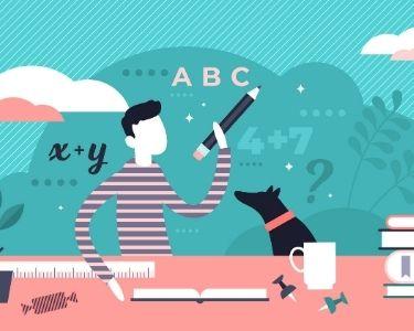 Ilustración de un niño con su perro, mientras está estudiando en su mesa, con números y palabras a sus espaldas