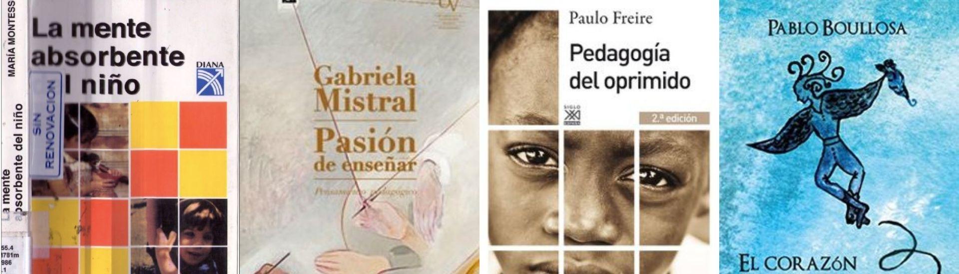 Fotografías de 4 portadas de libros recomendados para profesores, de autores como Paulo Freire y Gabriela Mistral