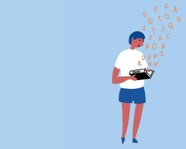 Ilustración de un estudiante con dislexia con un libro en mano, de donde sale el abecedario de forma desordenada. Tiene cara de frustración mientras mira el libro.