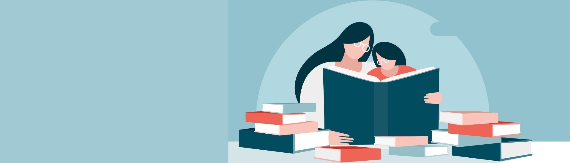 Ilustración de una madre con su hijo, leyendo un libro, rodeados de un círculo de libros.