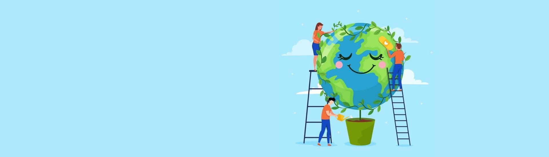 Un planeta siendo ayudado gracias a la relación positiva entre medioambiente y tecnología