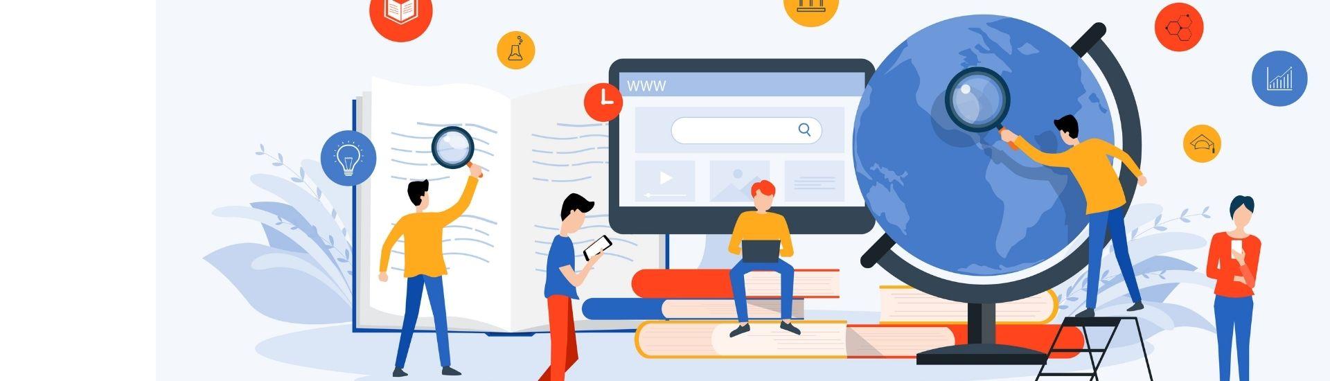 Ilustración de profesores y estudiantes alrededor de libros, computadores y un mapamundi gigante, para representar el nuevo paradigma educativo