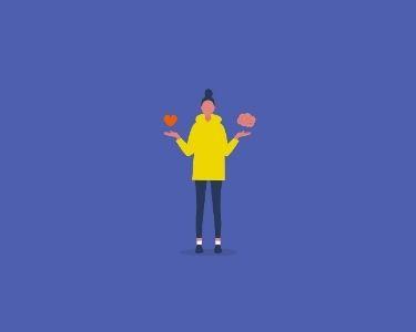 Ilustración de una mujer que sostiene en su mano izquierda el dibujo de un corazón y la derecha, una imagen que representa un cerebro. La imagen hace alusión a la representación de cómo promover educación socioemocional