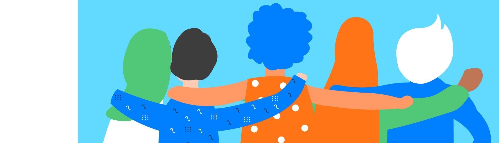 Imagen de 5 personas de espaldas, abrazándose en alusión al apoyo por la inclusión