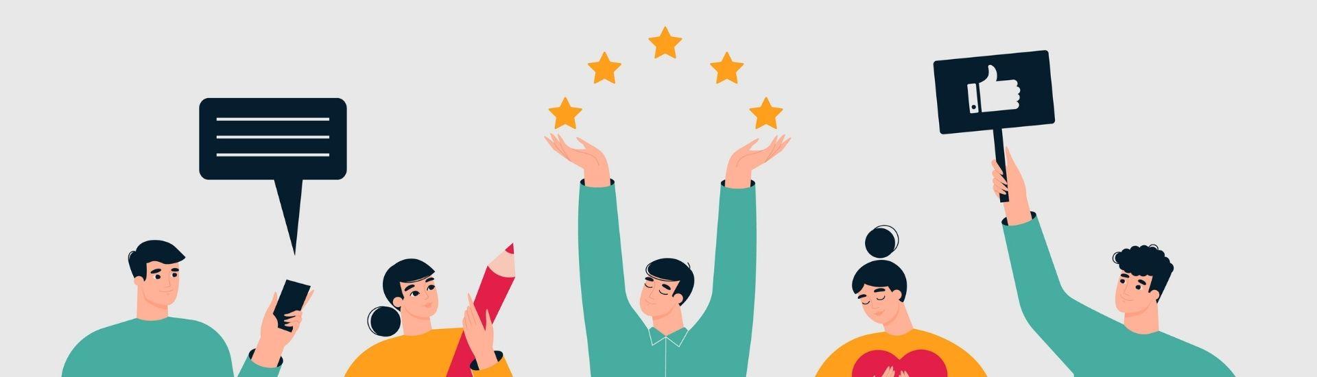 Ilustración de 5 jóvenes, que sostienen distintos objetos como un me gusta de redes, corazones y 5 estrellas, simbolizando una buena retroalimentación para estudiantes