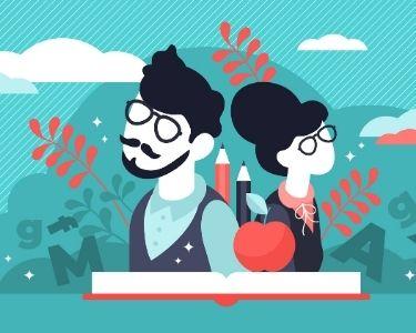 Ilustración de dos profesores espalda a espalda, con un libro, manzanas y pizarras. Una invitación a ver la educación fuera de lo tradicional y con más enfoque en el nuevo paradigma educativo.