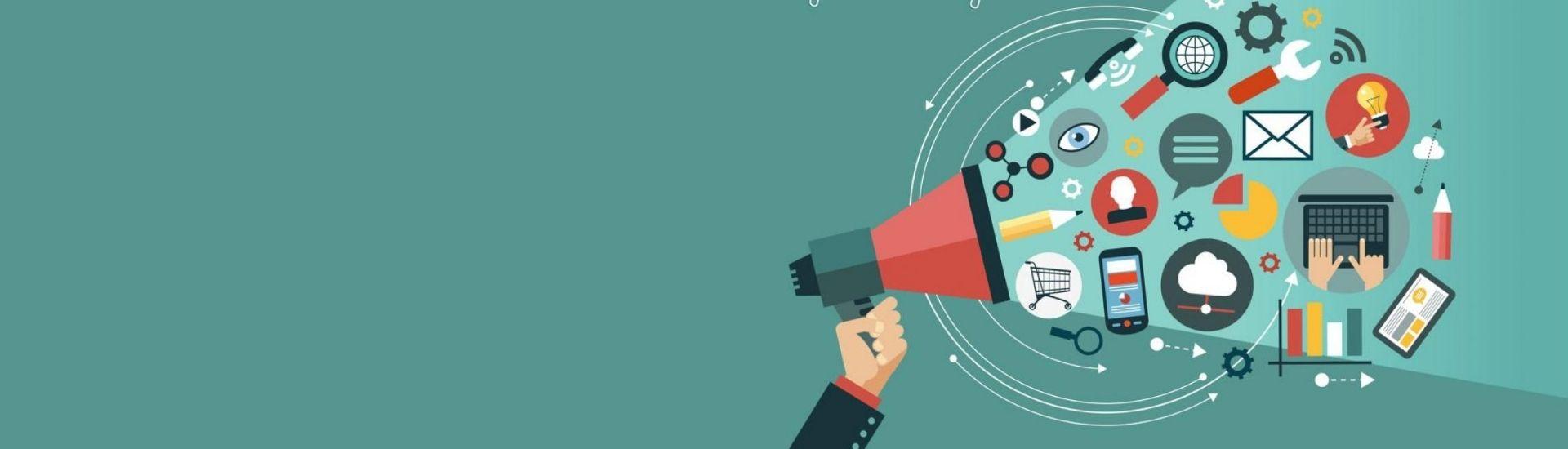 Ilustración con un megáfono del que salen mucho iconos que hacen referencia a la ciudadanía digital, como computadores, apps y redes sociales