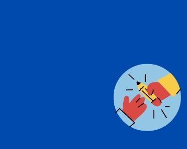 Ilustración de dos manos tomando un lápiz, en alusión al trabajo en equipo que se necesita para frenar el déficit de profesores.