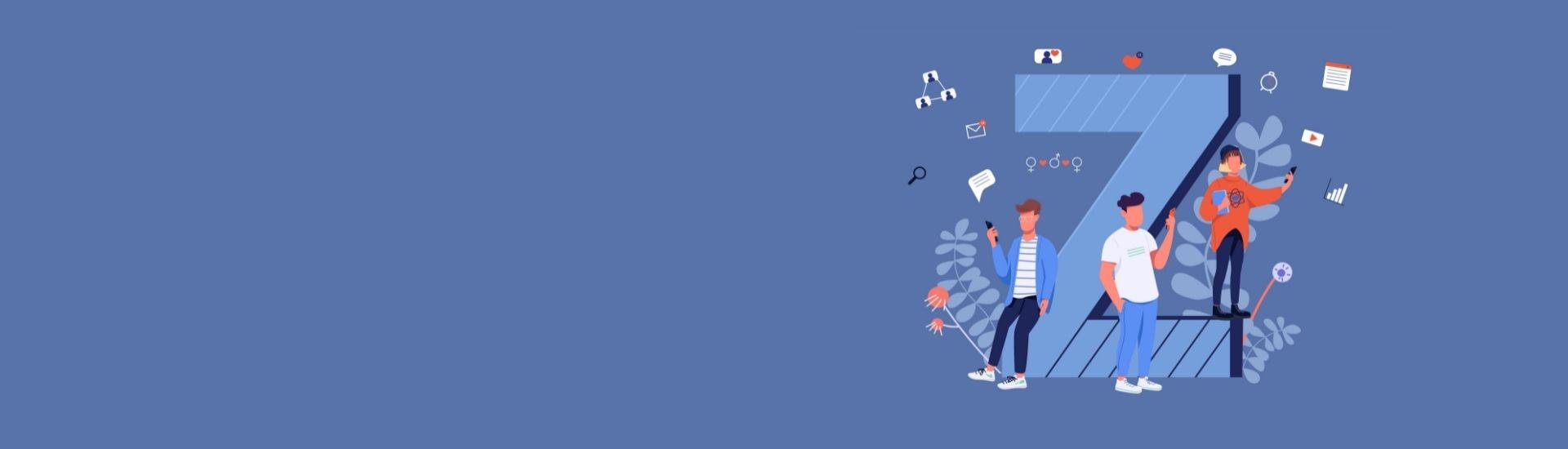 Ilustracion de tres jóvenes, apoyados en una letra Z gigante. Todos los jóvenes se encuentran conectados a algún dispositivo móvil, debido a que son una generación digital.