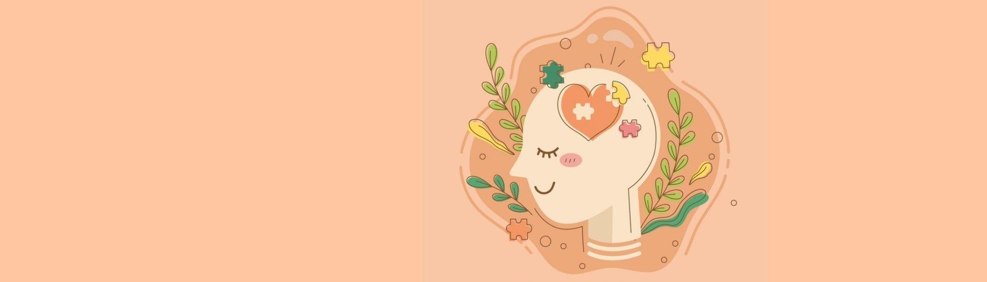 Ilustración de una mente trabajando por su bienestar en tonos rosados