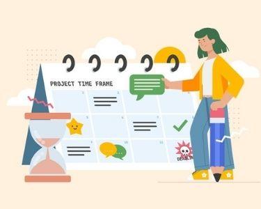 En la imagen se ve a una mujer junto a un calendario, organizándose para ser productiva
