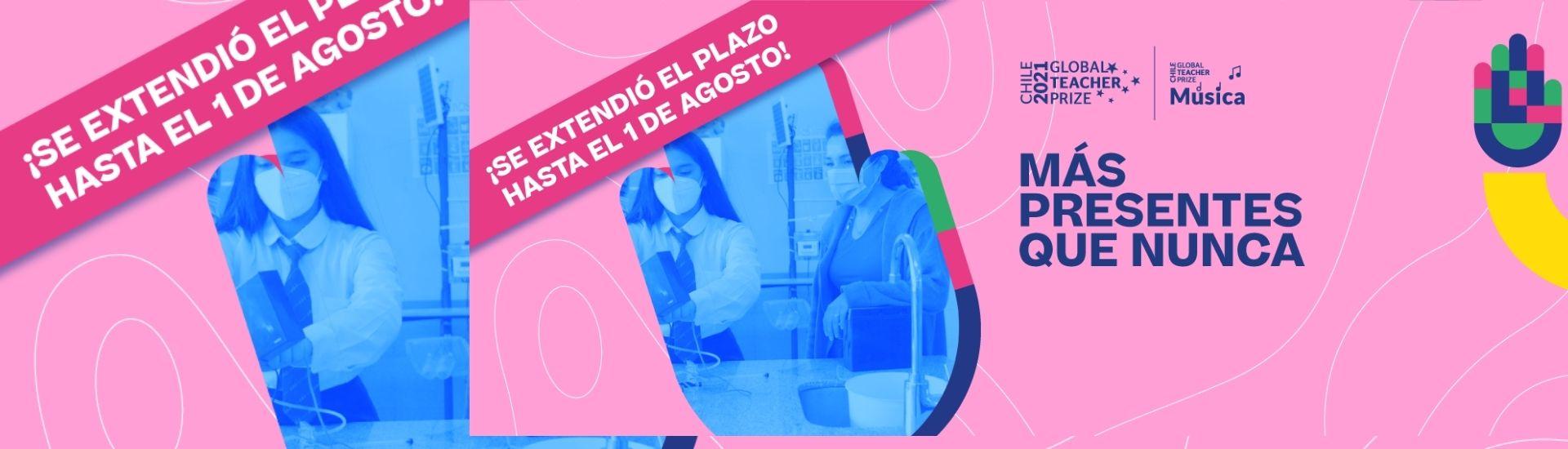 Imagen que tiene la frase más presente que nunca, junto a una imagen de Militza Saavedra trabajando en una sala de clases junto a una alumna