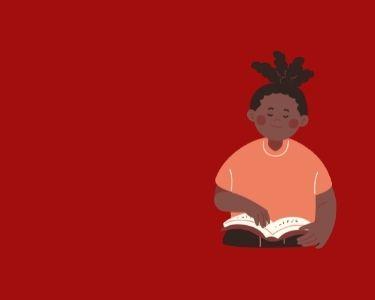 Ilustración de una niña leyendo un libro, que está a la altura de su cintura en alusión a la lectura infantil