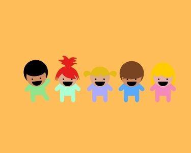 Ilustración de 5 niños y niñas que representan la interculturalidad que puede estar presente en una sala de clases
