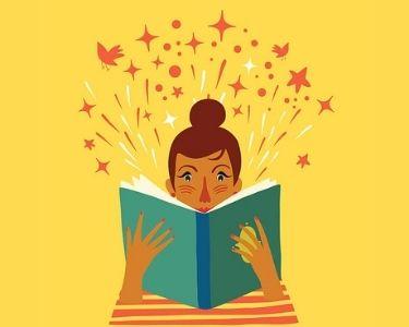 Una mujer leyendo un libro y encontrando un mundo de información