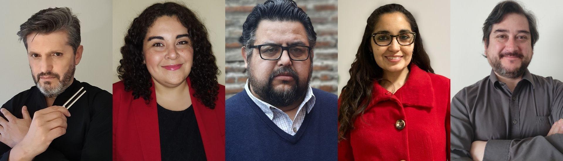 Retratos de algunos de los docentes de música finalistas del Global Teacher Prize Chile 2021, en la categoría Profesor de Música