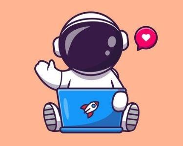 un astronauta viendo un documental sobre el espacio